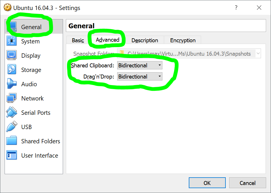 Enabling Clipboard Sharing and Shared Folder on VirtualBox